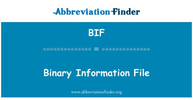 BIF: Binary Information File