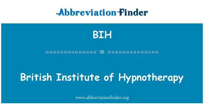 BIH: British Institute of Hypnotherapy