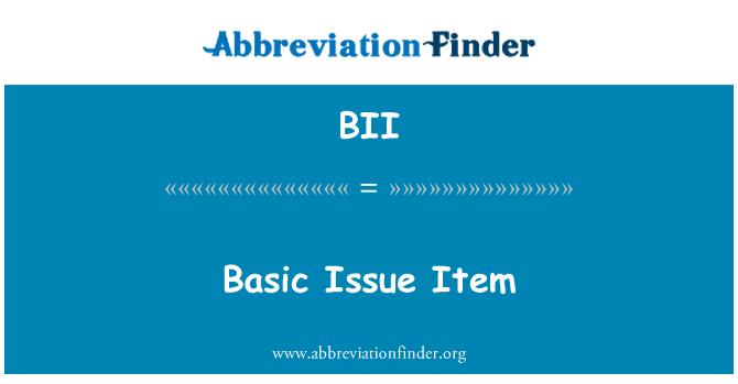 BII: Basic Issue Item