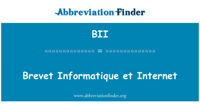 BII: Brevet Informatique et Internet