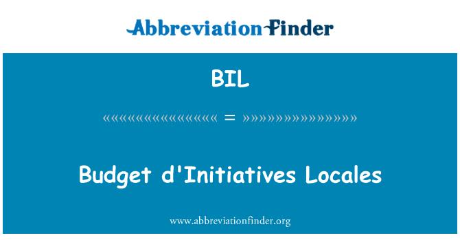 BIL: Budget d'Initiatives Locales