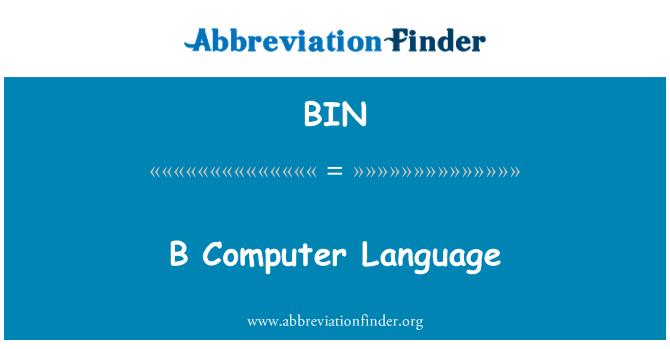 BIN: Bahasa komputer B