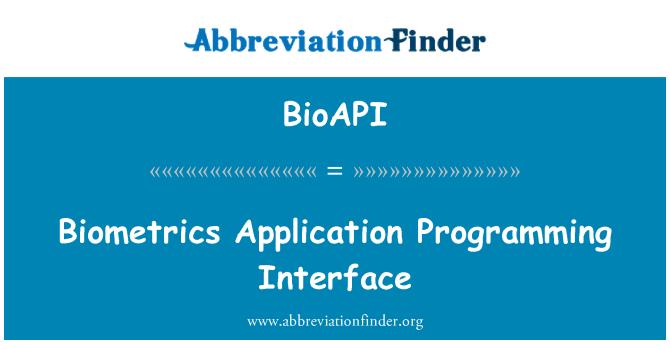 BioAPI: Biometrija Application Programming Interface