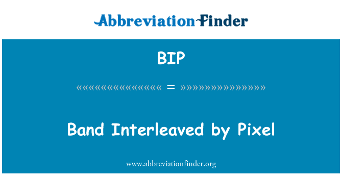 BIP: Band Interleaved by Pixel