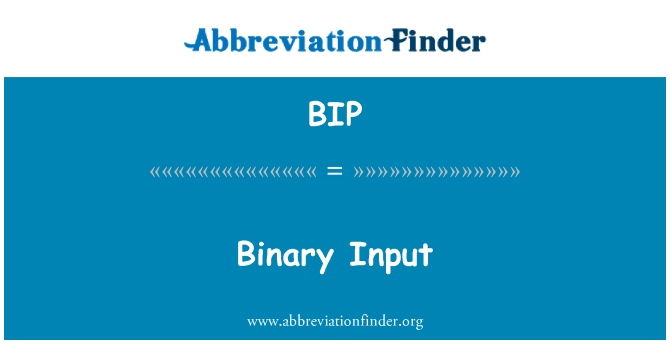 BIP: Binary Input