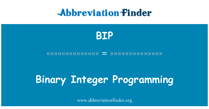 BIP: Binary Integer Programming