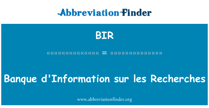 BIR: Banque d'Information sur les Recherches