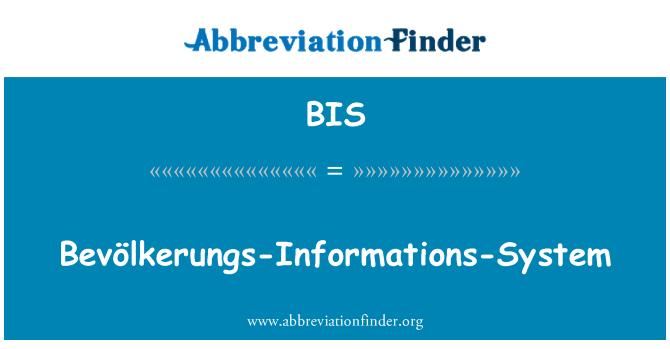 BIS: Bevölkerungs-Informations-System