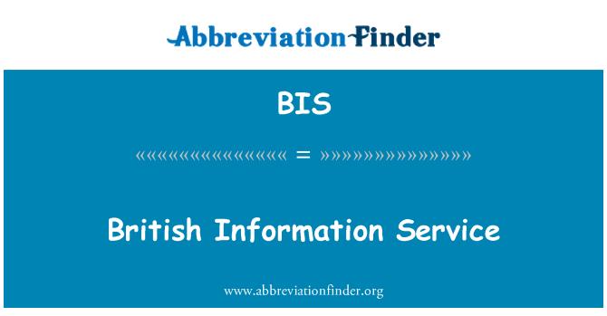 BIS: British Information Service