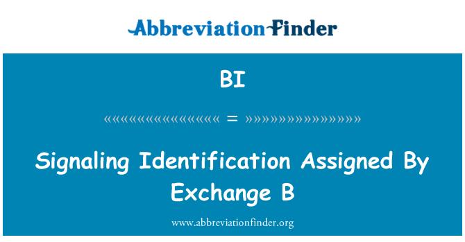 BI: Signaling Identification Assigned By Exchange B