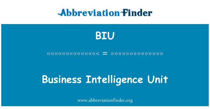 BIU: Business Intelligence Unit