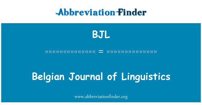 BJL: Belgian Journal of Linguistics