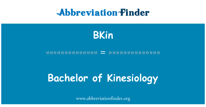 BKin: Bachelor of Kinesiology