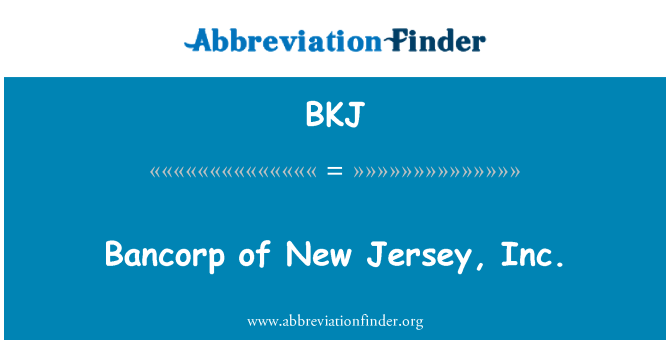 BKJ: Bancorp of New Jersey, Inc.