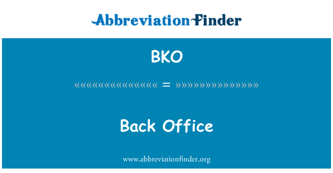 BKO: Back Office