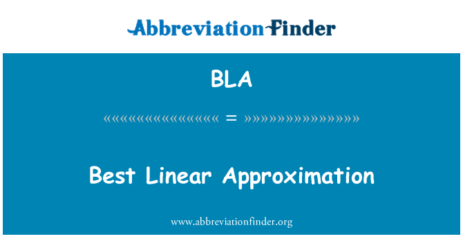BLA: Best Linear Approximation