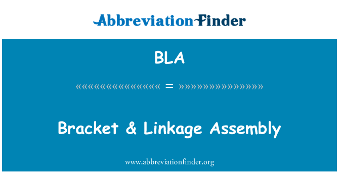 BLA: Bracket & Linkage Assembly