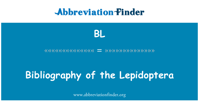 BL: Bibliography of the Lepidoptera