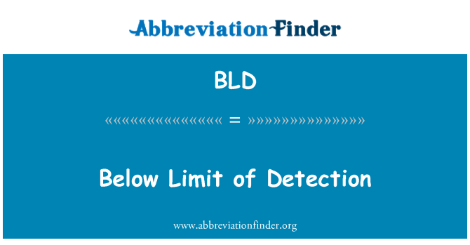 BLD: Below Limit of Detection