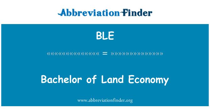 BLE: Bachelor of Land Economy