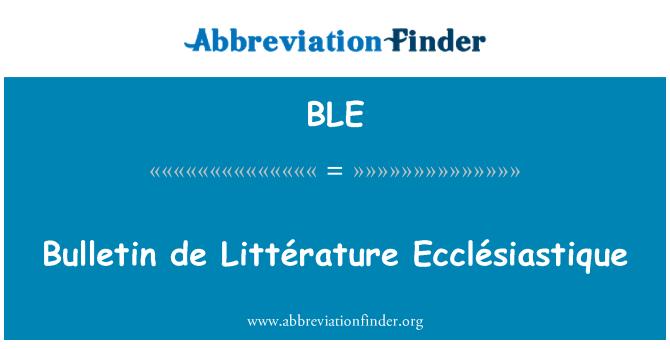 BLE: Bulletin de Littérature Ecclésiastique