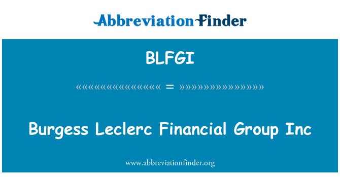 BLFGI: 伯吉斯勒克莱尔金融集团股份有限公司