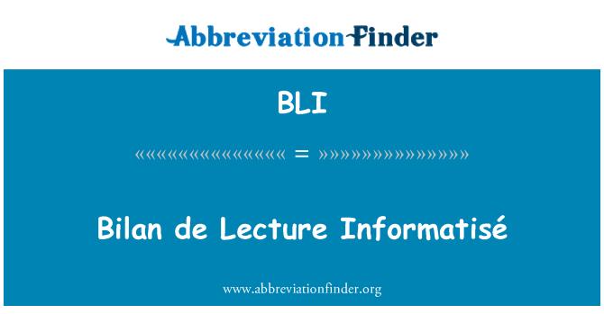 BLI: Bilan de Lecture Informatisé