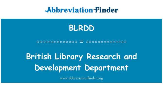 BLRDD: British Library Research and Development Department