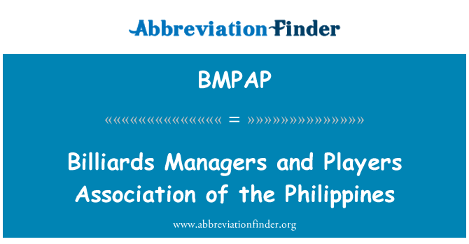 BMPAP: Billiards Managers and Players Association of the Philippines