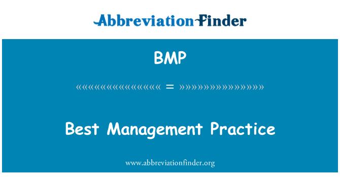 BMP: Best Management Practice