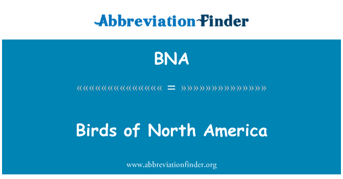BNA: Birds of North America