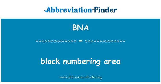 BNA: block numbering area