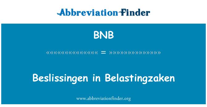 BNB: Beslissingen in Belastingzaken