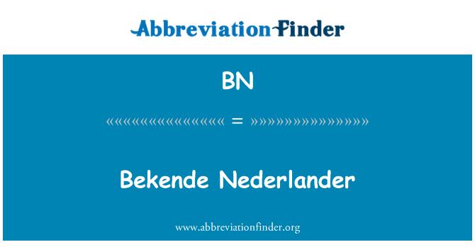 BN: Bekende Nederlander