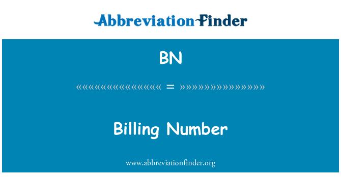 BN: Billing Number