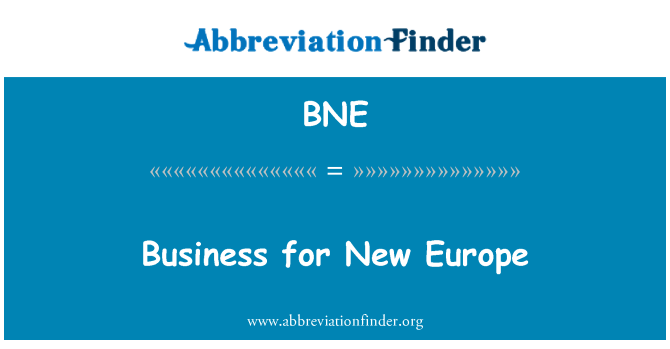 BNE: Business for New Europe