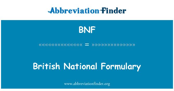 BNF: British National Formulary