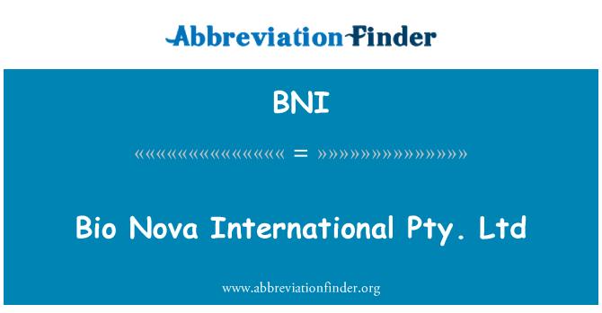 BNI: Bio Nova International Pty. Ltd