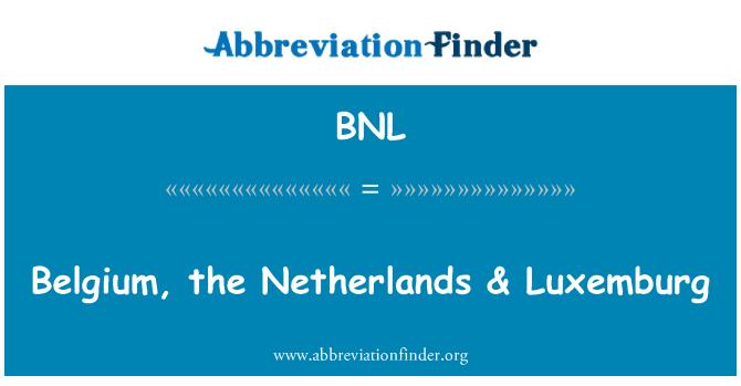 BNL: Belgium, the Netherlands & Luxemburg