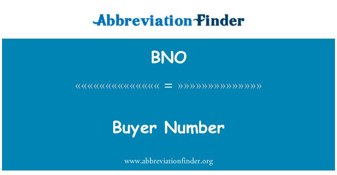 BNO: Buyer Number