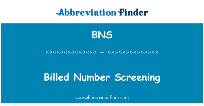 BNS: Billed Number Screening