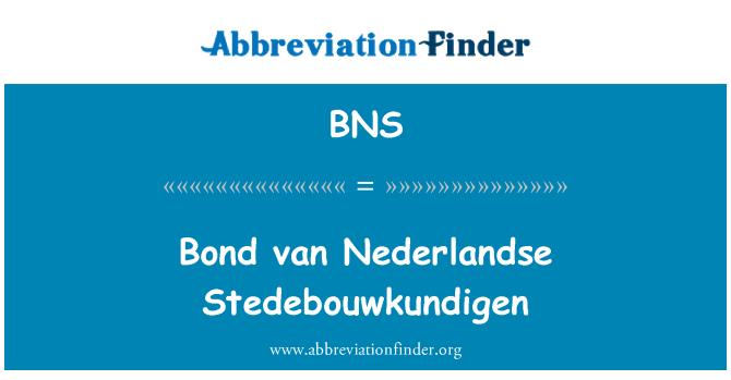 BNS: Bond van Nederlandse Stedebouwkundigen