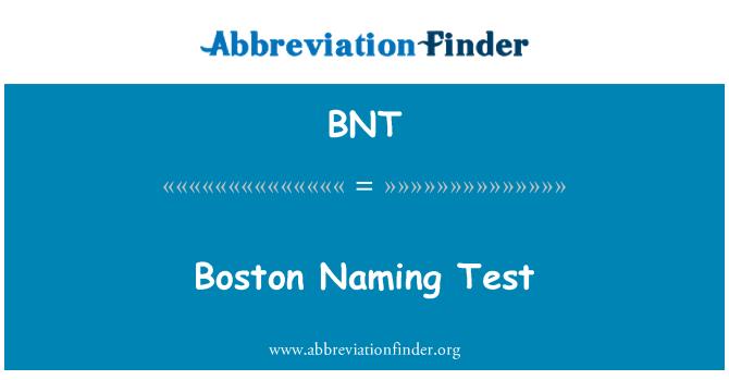 BNT: Boston Naming Test