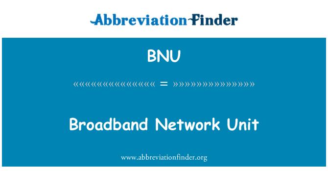 BNU: Broadband Network Unit