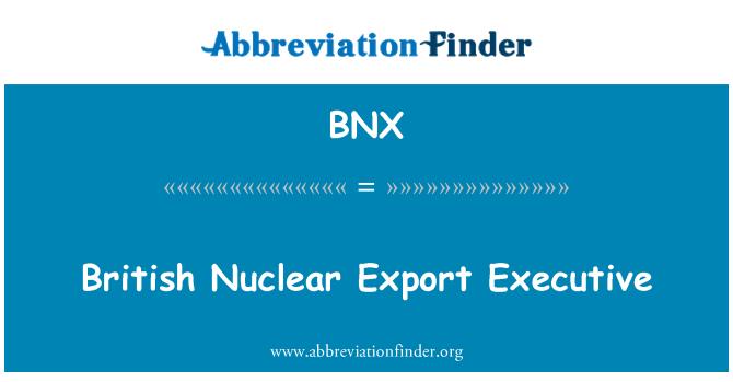 BNX: British Nuclear Export Executive
