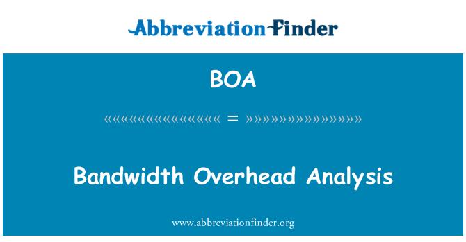 BOA: Bandwidth Overhead Analysis