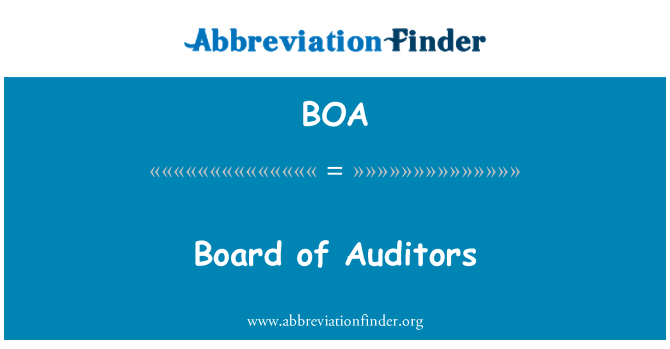 BOA: Board of Auditors
