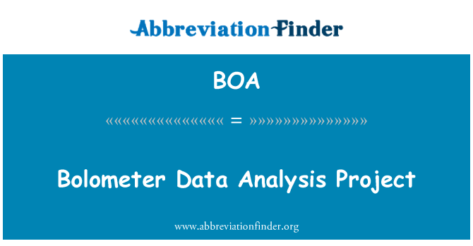 BOA: Bolometer Data Analysis Project