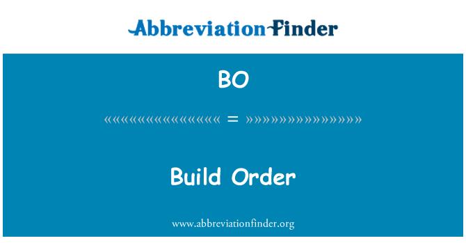 BO: Build Order