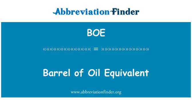 BOE: Barrel of Oil Equivalent
